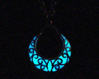 Crescent Moon Necklace Glow In The Dark Necklace Crescent Moon Jewelry Antique Bronze (glows aqua blue)