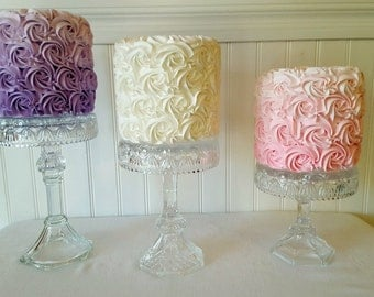 Crystal cake pedestal set / Clear glass dessert stand / Vintage Crystal pedestal / Wedding Cake Stand / Baby shower cake stand