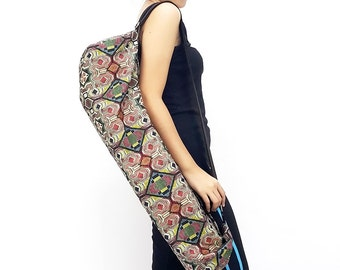 Handmade Yoga Mat Bag Yoga Bag Sports Bags Tote Sling bag Pilates Bag Pilates Mat Bag Woven Yoga Bag Women bag Woven Cotton bag (L-WF42)