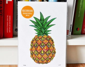 "SALE! Limited Edition Print ""Pineapple"" A5 Pineapple Print Singed and Numbered Giclee Print"