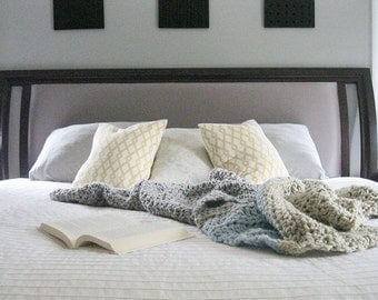 Chunky Yarn Blanket Wool Anniversary Gift | Knitted Throws | Wool Knit Blanket | Rustic Throw Blanket