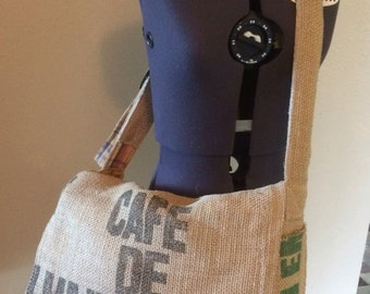 Burlap messenger bag