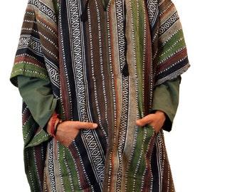 Men's   Knit  Cotton Long  Poncho - Hippie - Cozy - - Hood - Elf  - Shawl