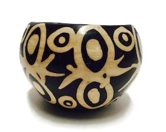 Vintage Tribal Pottery Bowl Peruvian Black White Chulucanas Bowl Ornate Spider Planter Bohemian Decor Southwest Rustic Goes Modern Art Bowl