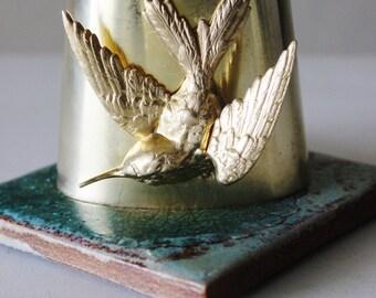 Large brass cuff, bird, adjustable, hummingbird statement bracelet, ultra modern  3D design