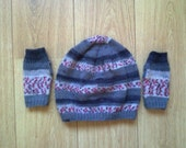 Set of striped fingerless gloves and slouch beanie - greys and pinks