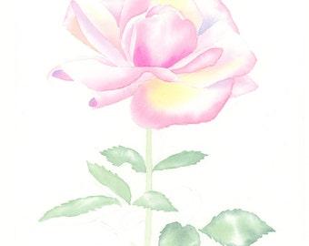 ORIGINAL watercolor rose, NOT A PRINT!