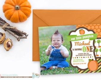 Pumpkin Birthday Invitation, Pumpkin Patch Birthday Invitation, Little Pumpkin Birthday Invitation, Fall Birthday Invitation