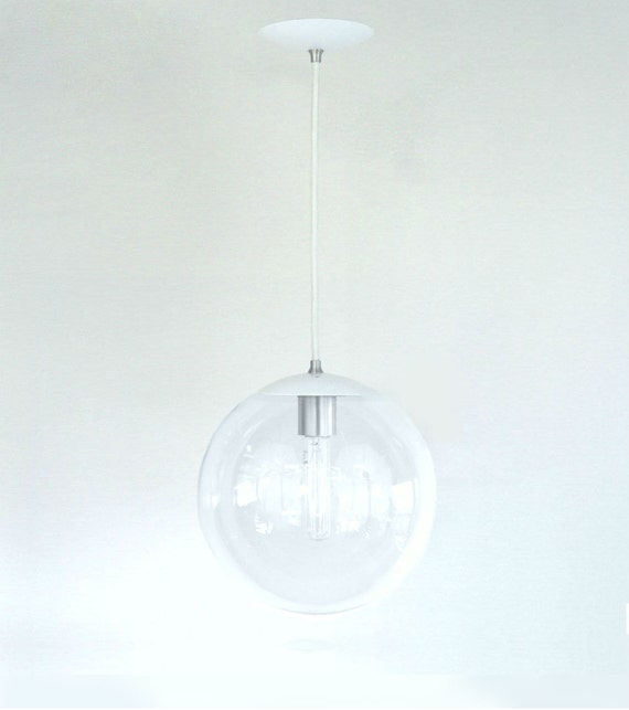 White pendant light mid century modern 10 clear glass for Mid century modern globe pendant light