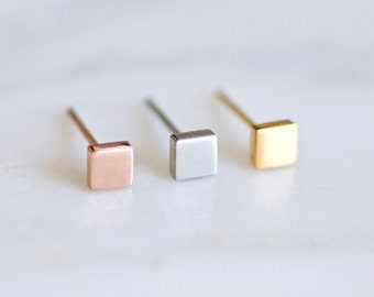 Tiny Square Stud Earrings, Rose Gold, Silver, Geometric, Minimalist, Surgical Steel Titanium, Gift For Her, Hypoallergenic, PS4