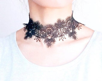 black lace choker necklace -  gothic lace choker - party accessory