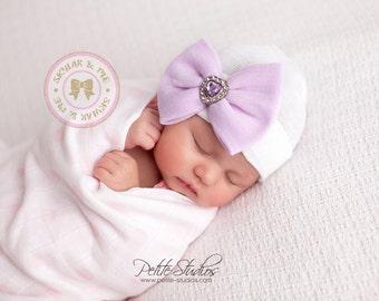 Purple newborn hat with bow, hospital hat baby girl, newborn hospital hat, girl newborn hospital ...