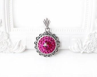 Fuchsia Pink Swarovski Crystal Necklace