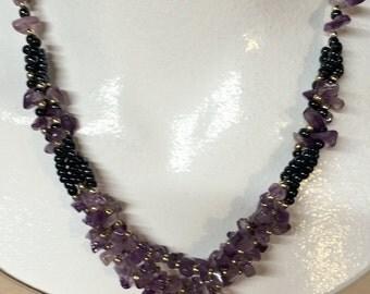 Vintage Necklace Purple Amethyst Stone Chunks W Black Beads Art Deco Retro Boho Womens Jewelry Anna Rose Gifts