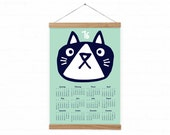 Wall calendar 2016 - CAT - mint - A3, A3+ size / kids room