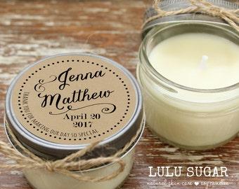 Set of 12 - 4 oz Soy Candle Wedding Favors - Jenna Label Design - Arrow Wedding Favors // Wedding Favor Candles // Wedding Favors
