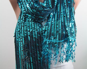 Metallic Blue Scarf Shawl Sequin Scarf Sparkle Scarf Wedding Scarf Fall Winter Holiday Women Fashion Accessories Christmas Gifts For Her