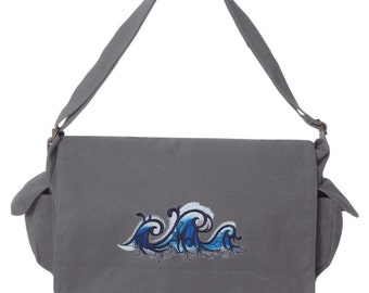 Riptide Wave Surfer Embroidered Canvas Cotton Messenger Bag