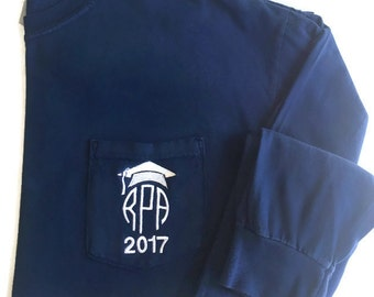 Long Sleeve Monogrammed 2017 Comfort Colors Grad Cap Pocket Tee
