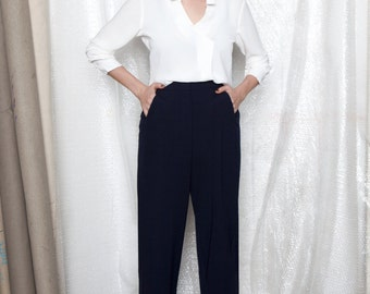 40% off Blue pants, wide leg pants women, wide leg trousers, flowy pants, casual pants, high waisted pants, high waisted