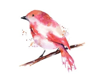 Pink Art Print, Animal Watercolor Painting, Bird Painting Print, Abstract Bird Art, Pink Watercolor, Modern Bird Painting, Animal Print Art