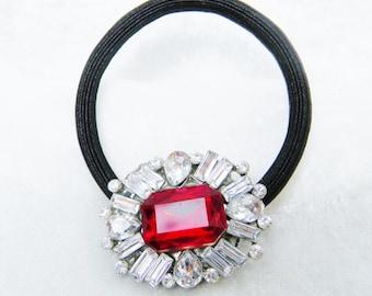 Red Crystal Vintage Victorian Ponytail Holder, Hair Elastic