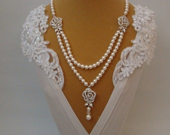 Rhinestone Necklace Statement, Bridal Necklace, Bridal Statement Necklace, Bridal Y Necklace, Vintage Style Crystal and Pearl Necklace ROSA
