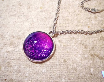 Mothers Day Gift, Purple necklace, Nail polish jewelry necklace, Bohemian jewelry, Prom Jewelry, Boho necklace, Galaxy necklace Jewelry