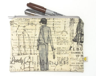 Fashion zipper pouch pencil case, vintage-style pattern print