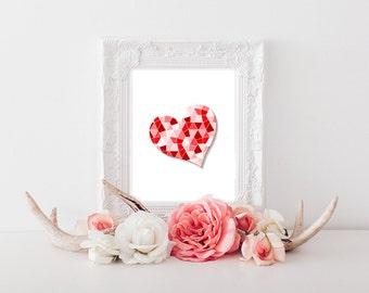 Geometic Heart Digital Download, Heart Decor, Heart Sign, Heart Printable, Heart Print, Heart Wall Art, Heart Download, Red Heart  0004