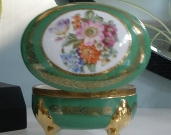 Beautifully Decorated Vintage Trinket Box Made In Germany