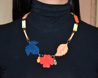 1970s Galalith Necklace ~ Vintage carved Leaves&Flower necklace