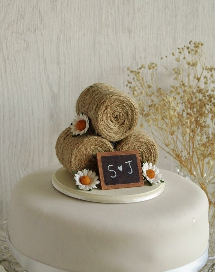 Rustic Wedding Cake Topper Hay Bale With Daisies