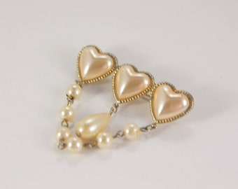 Valentines Gift For Her Hearts Jewelry Imitation Pearl Three Heart Brooch Vintage Jewelry Gift For Her