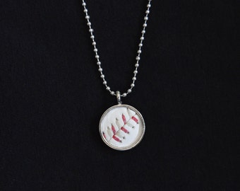 Baseball Necklace- Red/Sand Stitches Limited Edition- Round 3/4 inch, Metal Back