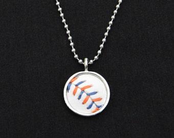 Baseball Necklace- Blue/Orange Stitches Limited Edition- Round 3/4 inch, Baseball Leather, Metal Back
