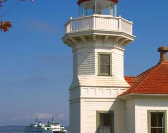 Ferry Comes in Mukilteo Lighthouse Edmonds Washington Puget Sound Transportation