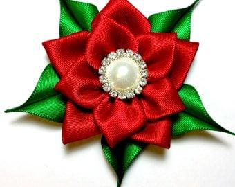 Holiday Hair Clip, Christmas Hair Bow, Poinsettia Hair Clip, Holiday Hair Accessories, Flower Hair Bow, Girl Hair Clip
