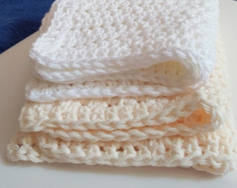 Cotton Wash Cloths x 2 - BathShowerSpaKitchen Washcloths-Soft Absorbent 100% Cotton/Pastel Colors of Peach and White/READY TO SHIP!!