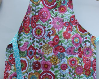 Little Girl's Apron with Birds, Girl's Butterfly Apron