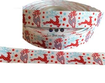 "7/8"" Fancy Reindeer-Deer-ChristmasHoliday-Grosgrain-Polka Dot-Turquoise-Red-Ribbon by the Yard-Hairbow-Scrapbook-Crafts-Christmas Stars"