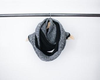 Chunky Knit Scarf Grey / Circle Infinity Scarf Merino Wool