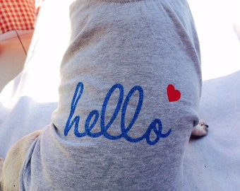 Hello Tee for Pugs, Frenchies, Boston Terriers, English Bulldogs, Bull Terriers. Grey Dog T-Shirt for stocky breeds. Small Dog Clothing.