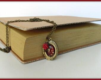 Red oval locket necklace, Vintage inspired locket, Bronze locket, Picture locket, Victorian locket necklace, Valentine gift