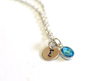Aquamarine Stone Necklace, Aqua Blue Necklace, Initial Necklace, Personalized Necklace, Gift, Bridesmaid Gift, Flower Girl, Christmas gift