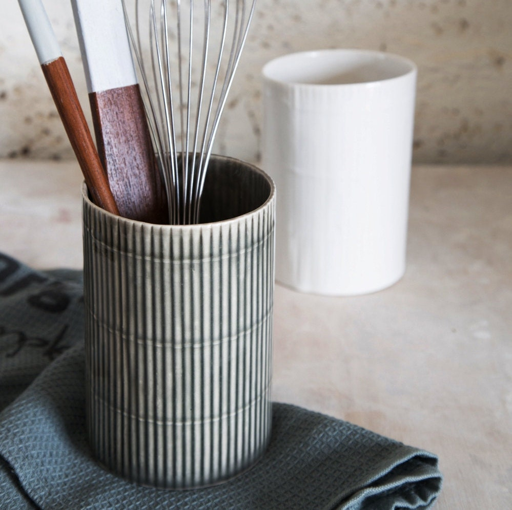 Ceramic utensil holder ceramic kitchen by 1220ceramicsstudio for Kitchen utensil holder