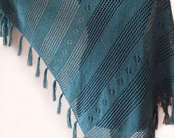 Knitted merino tassel deep-green shawl, viridian shawl, knitted boho shawl wrap, knit accessory, woman scarf, woman shawl