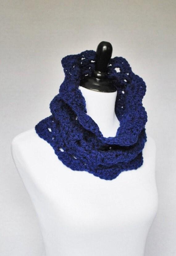 Blue Crochet Scarf, Navy Crochet Cowl, Scalloped Neck Warmer, Navy Blue Infinity Scarf, Collar - Lacy Crochet, Indigo Blue, Denim