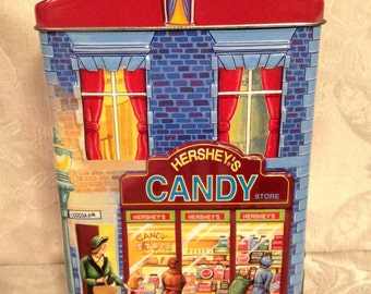 Hershey's Candy Tin, General Store Tin, Chocolate Tin, Hershey's Villiage Tin, Storage Tin