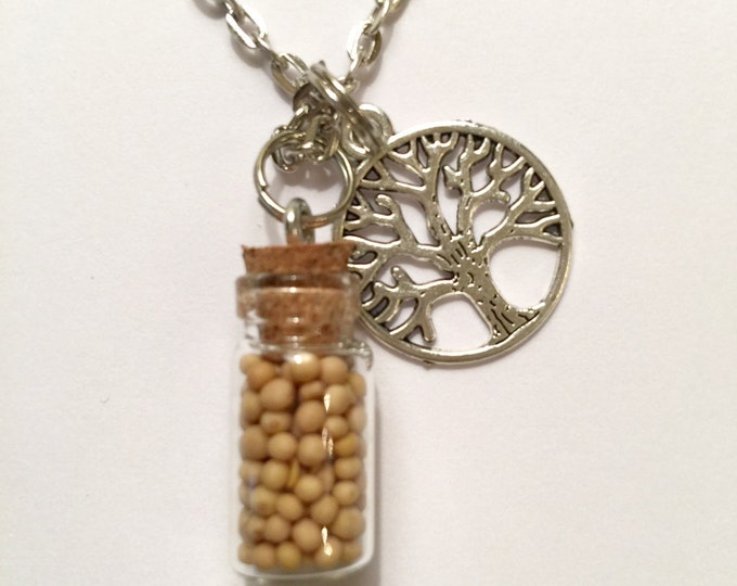 Mustard Seed Jewelry,  Tree of Life Necklace in Antique Silver with tree of life charm and sealed glass bottle full of mustard seeds